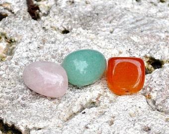 TAURUS Set of 3 Polished Crystals Gemstones - Rose Quartz, Carnelian, Green Aventurine -For Astrology, Zodiac Signs, April May Birthday Gift