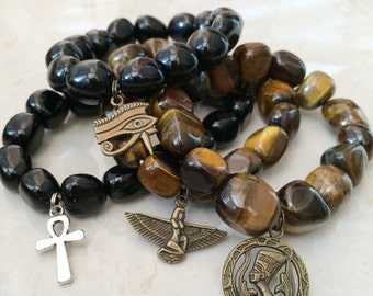 Egyptian Unisex Gemstone Bracelet - Tiger Eye or Obsidian - Charm: Ankh Cross, Eye of Ra, Horus, Isis, Nefertiti, Men's Jewelry,
