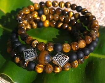 108 Mala Beads - Tiger Eye & Onyx Wrist Mala - Mala Bracelet, Meditation Beads, OM Mala, 108 Mala, Men's Mala, Unisex Bracelet, Mayan Rose