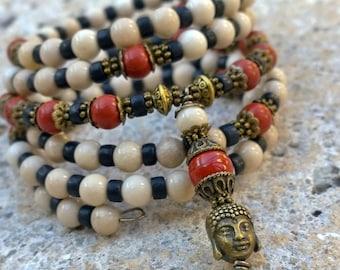 108 Mala Beads - Riverstone, Red Jasper & Howlite Wrist Mala - Buddha Bracelet, Meditation Beads, Prayer Beads, Wrap Bracelet, Mala Bracelet