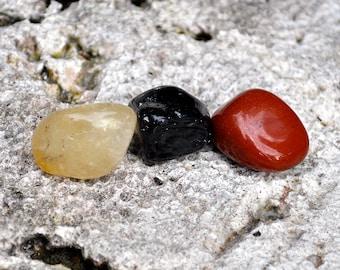 LEO Set of 3 Crystals   Onyx, Citrine, Carnelian   Tumbled Polished Gemstones - For Astrology, Zodiac, Meditation Yoga, July August Birthday