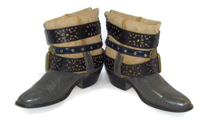 Size9.5 Upcrafted Steampunk boots Short Boots Ankle Boots Cowboy Boots UpCycled RT236 Festival wear Concert boots Leather Booties