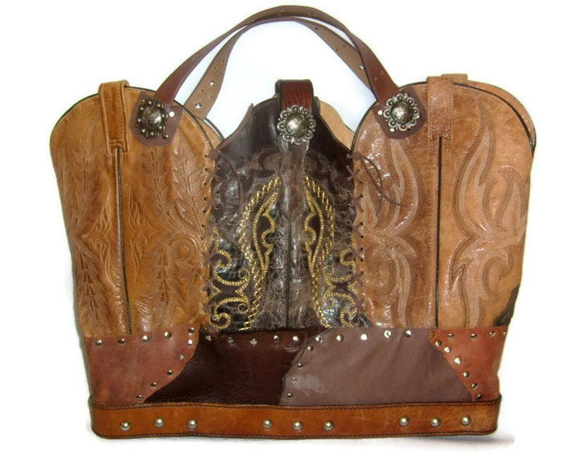 Cowboy boot Purse Extra Large Leather Purse made from Cowboy Boots Travel Bag Leather Carry On Leather Laptop Tote Large Leather Tote
