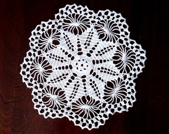 Small Round Doily, Coffee Table Cloth, White Lace Doily, Cottage Chic Home Decor, Flower Garden Delicate Coaster, Shabby Chic Gift, Dresser