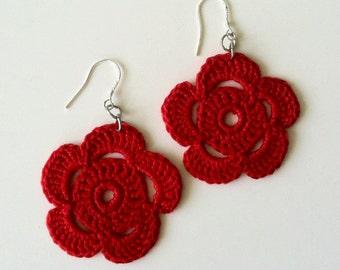 Crochet Flowers, Floral Jewelry, Shabby Flowers, Crochet Earrings, Summer Jewelry, Garden Earrings, Rose Earrings, Daisy Earrings, Bohemian