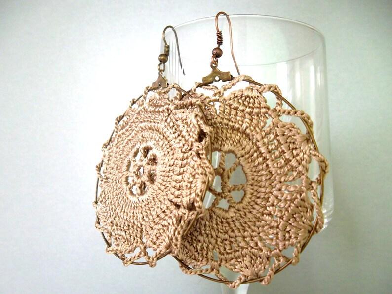 c2aabb28a14 Cream Beige Crochet Earrings Oversized Hoops Doily Earrings