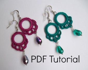 PDF Pattern Crochet Lace Earrings with Czech Beads, Instant Download, Earring Pattern, Digital Download, DIY Accessories, Crochet Tutorial