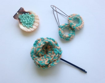 Crochet Set of Flower Bobby Pin and Circle Earrings in Peach and Teal, Wool Jewelry, Fiber Accessories, Knitted Gifts, Blue Crochet Hoops