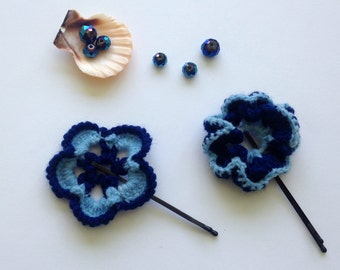 Forget Me Nots Flower Bobby Pins, Sky Blue, Navy Blue, Accessories for Kids, Crochet Flowers Bobby Pins, Knitted Violets, Hair Decor, Gifts