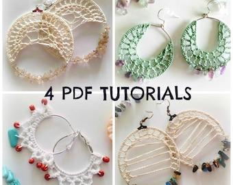 Set of 4 Earring Tutorials, Crochet Jewelry PDF Pattern, Crochet Tutorials, Hoop Earrings Photo Ebook, DIY Earrings, Crochet PDF Tutorials