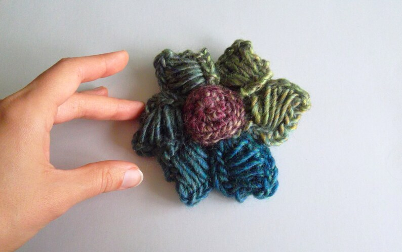 Knitted Accessories Fiber Rose Blue and Purple Whimsical Jewelry Lilac Corsage Colorful Brooch Crochet Flower Brooch in Green