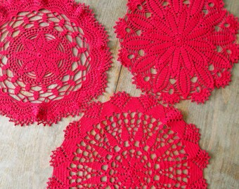Crochet Lace Doilies, Set of 3, Antique Lace Dolily, Rustic Wedding Decor, Burgundy Table Cloth, Red Vintage Doily, Crochet Table Runner