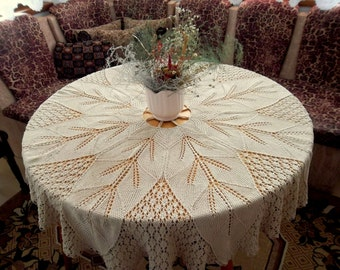 Oak Leaves Doily, Crochet Table Cloth, Beige Lace, Ecru Table Topper, Shabby Chic, Large Round Doily, Cozy Home Decor, Leaf Pattern Linen