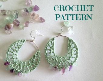 Crochet Earrings Tutorial, Digital Download Crochet Pattern, Crochet Tutorial, Beaded Jewelry Tutorial, Instant Download PDF Pattern