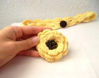 Yellow Brown Crocheted Headband, Detachable Accent-Flower Brooch Pin Hair Clip, Shabby Chic Corn Hair Decor, Daffodil Earwarmer, Boho Chic