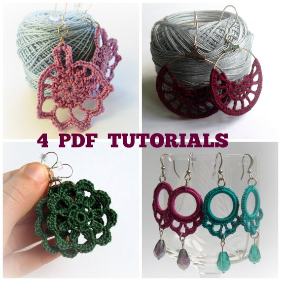 Set Of 4 Crochet Patterns Crochet Earrings Pdf Pattern Etsy