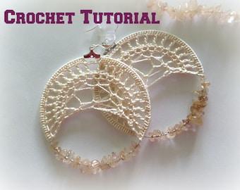 Crochet Pattern, Instant Download, PDF Pattern, Crochet Tutorial, Jewelry Pattern, Spider Web Crochet Earrings, Crochet Jewelry,Beaded Hoops