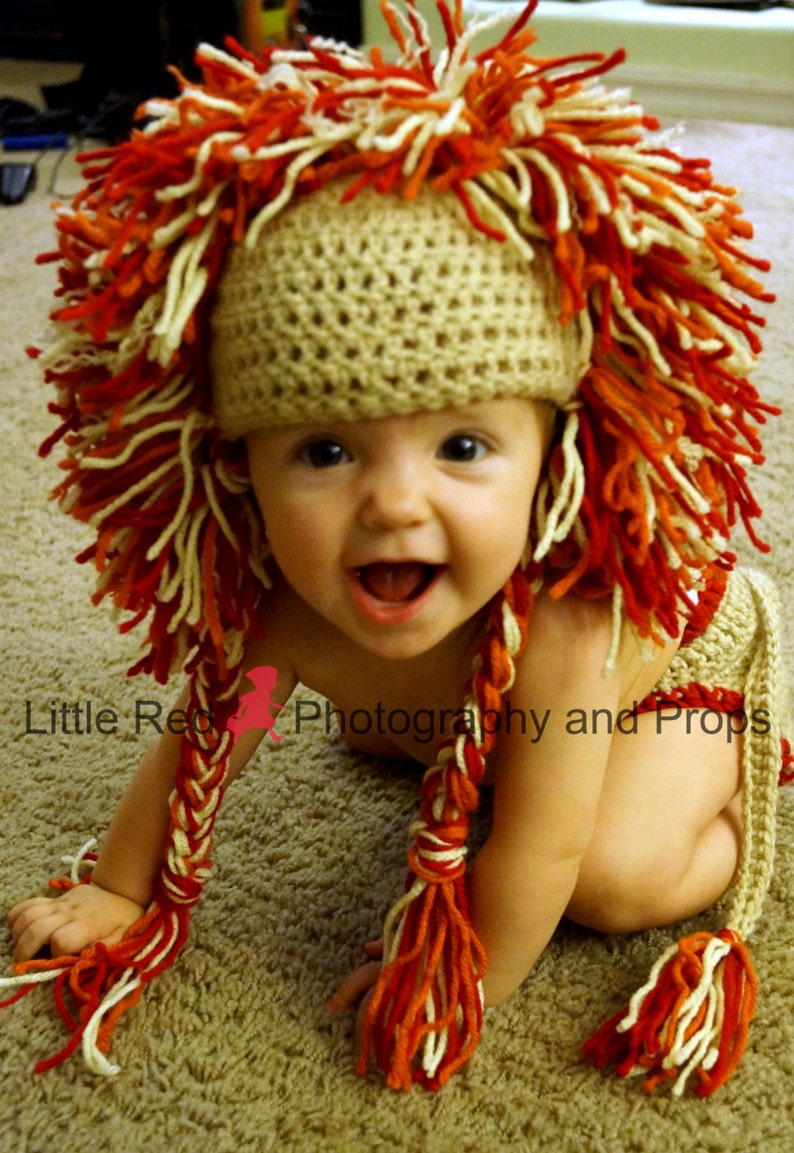 SALE Adorable Crochet baby Lion Hat and Diaper cover image 0