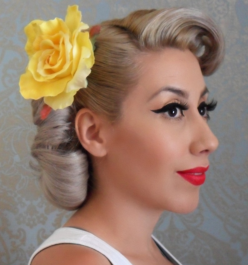 1940s Hair Snoods- Buy, Knit, Crochet or Sew a Snood     Dual Pin Hair Rose- PinUp/rockabilly-1950s inspired $10.00 AT vintagedancer.com
