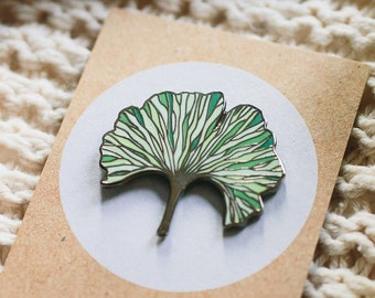 Ginkgo Biloba enamel pin leaf brooch, pin plant mom gift for women, botanical jewelry, birthday gifts for her, Best selling items handmade