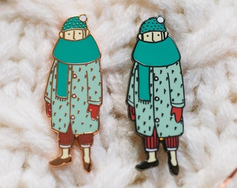 Fashion girl enamel pins collectible, sweater pin, cold weather accessories, birthday gifts for her | Christmas gifts for her