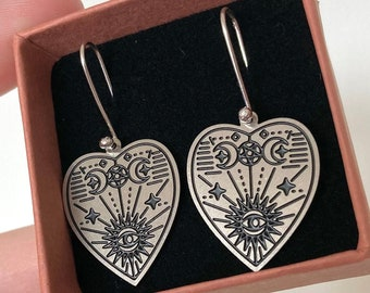 Sana earrings | Eco sterling silver planchette earrings stainless steel earrings | birthday gifts for her | Christmas gifts for her