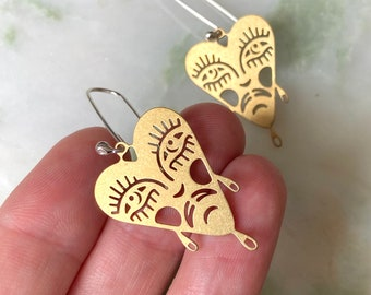 Raul earrings | Brass and Eco sterling silver bleeding heart earrings planchette | Birthday gifts for her | Christmas gifts for her