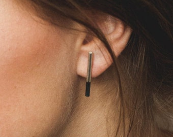 Black bar earrings sterling silver earrings, modern jewelry, tube earrings, birthday gift, anniversary gift for her, minimalist earrings