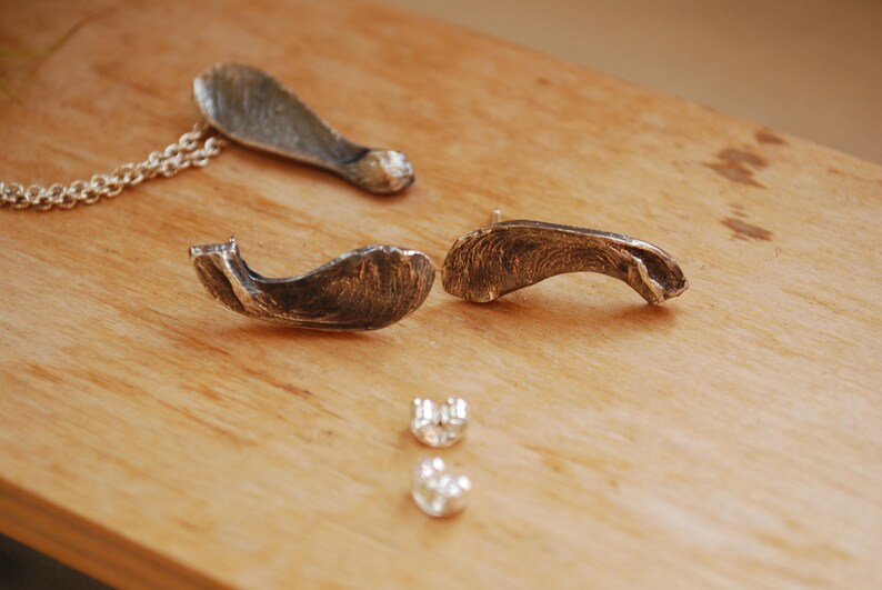 natural jewelry tree pins geometric jewelry Sterling Silver Maple seed earrings nature lover gifts Birthday gifts