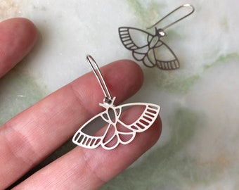 Moth earrings | Eco sterling silver moth dangle earrings brass | Birthday gifts for her | Christmas gifts for her