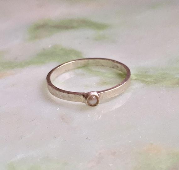 Sterling Silver Ring Pearl Minimalist Ring Birthstone Etsy