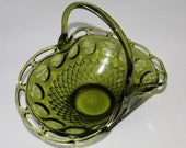 Large Glass Handled Footed Laced Edged Scalloped Basket