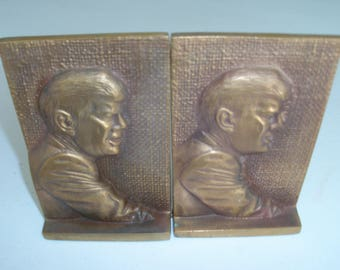 John F Kennedy Pair Of Brass Metal Bookends