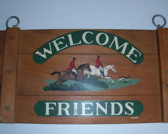 Langelier Designs Vintage Wood Welcome Friends Sign With Horses