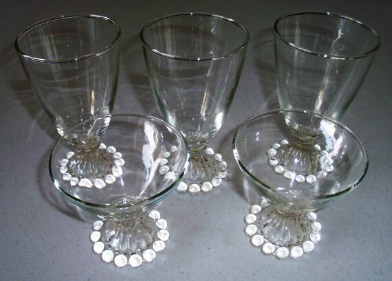 """Vintage Anchor Hocking Boopie Bubble Bottom Glasses 4-1//2/"""" TALL"""