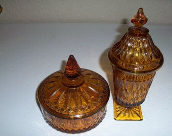 Indiana Glass Mount Vernon And Princess Amber Covered Candy Dishes