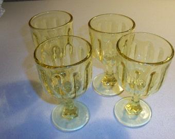 Fenton Set Of Four Yellow Small Goblets