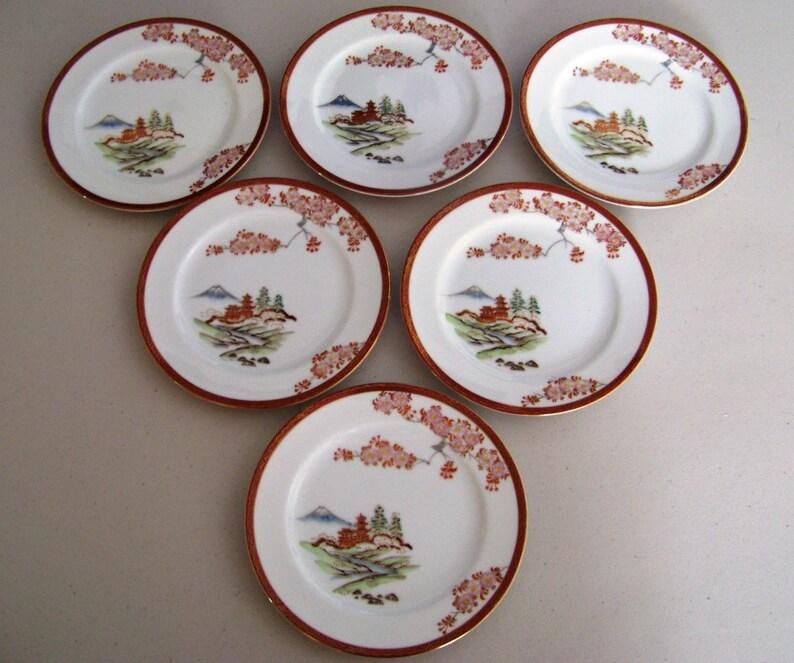 Hayasi China Hand Painted Set Of Six Plates