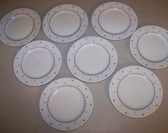Seltmann Weiden Bavaria West Germany Regina Set Of Eight Plates Blue Design