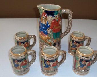 Beer Pitcher by K T W And Five Matching Mugs