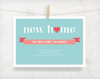 Moving Announcement Card, New Home Address Card, Printable, Made to Order
