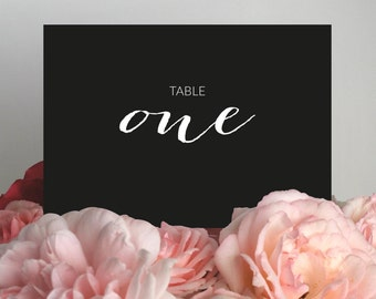Table Numbers - Printable - Wedding Table Numbers - Black