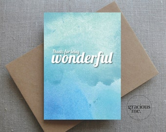 Thank You Card, 'Thanks for being wonderful', Thank-you Card - Aqua