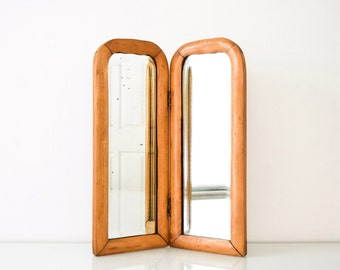 Antique Wood Mirror, Table Mirror, Wood Frame Mirror, Beautiful Antique  Wooden Bi Fold Table Top Mirror, Beveled, Dovetailed, Vintage