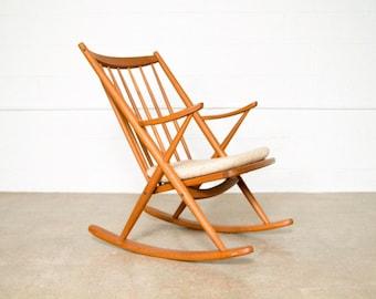 Mid Century Rocking Chair, Wood Rocker, Danish Modern Frank Reenskaug For  Bramin Rocker, Vintage