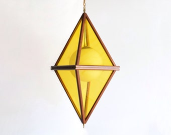 mid century pendant lamp, mid century hanging lamp, ceiling lamp, striking large teak and yellow mid century pendant lamp, vintage