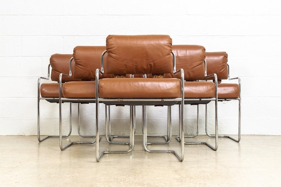 Wondrous Mid Century Chairs Mid Century Modern Mariani For Pace Collection Brown Leather Tubular Chrome Chairs Made In Italy Set Of 6 Bralicious Painted Fabric Chair Ideas Braliciousco