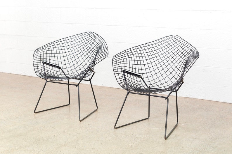 Diamond Bertoia Pair Pour ChairVintageMatching Mid Knoll Century Chaise BertoiaOriginal Harry Modern Black Wire Available wn08OkPX