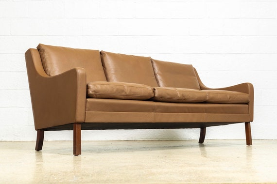 Astonishing Vintage Mid Century Danish Modern Brown Leather Three Seat Sofa Couch Made In Denmark 1960S Ncnpc Chair Design For Home Ncnpcorg