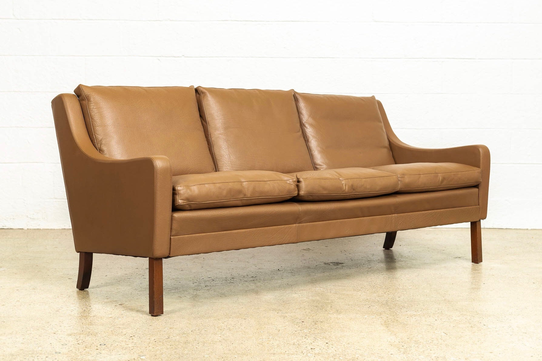 Vintage Mid Century Danish Modern Brown Leather Three Seat Sofa Couch Made In Denmark 1960s